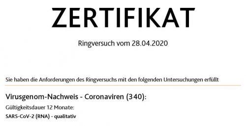 SARS-Cov-2 Analytik Zertifikat 2020